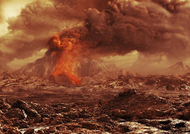 Ilustración de un posible volcán en Venus