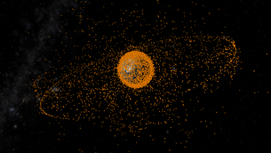 Space debris in orbit