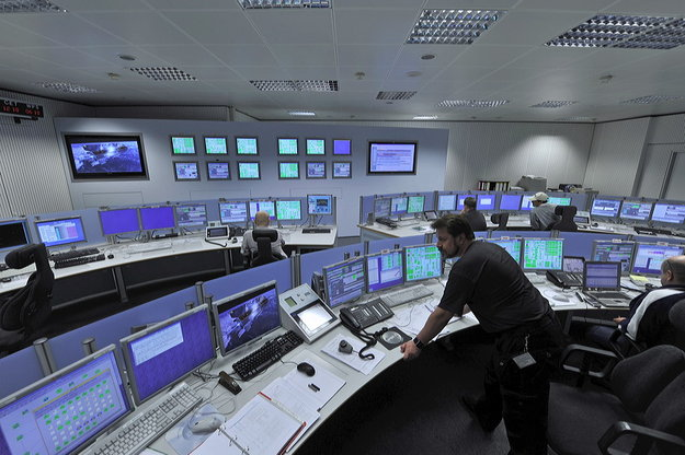 Tracking station control room at ESA's Space Operations Centre