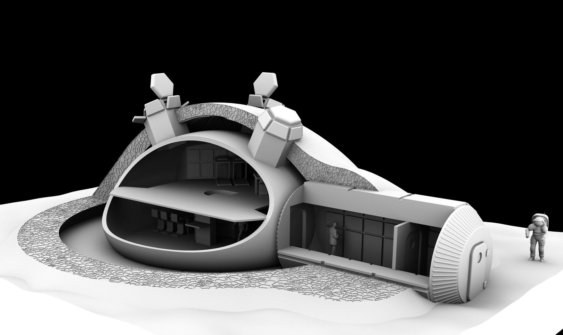 3D-printed lunar base design