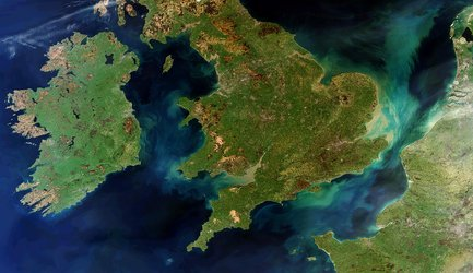 A rare cloud-free view of Ireland, Great Britain and northern France