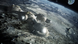 3d printing on moon in artist's imagination, courtesy: esa