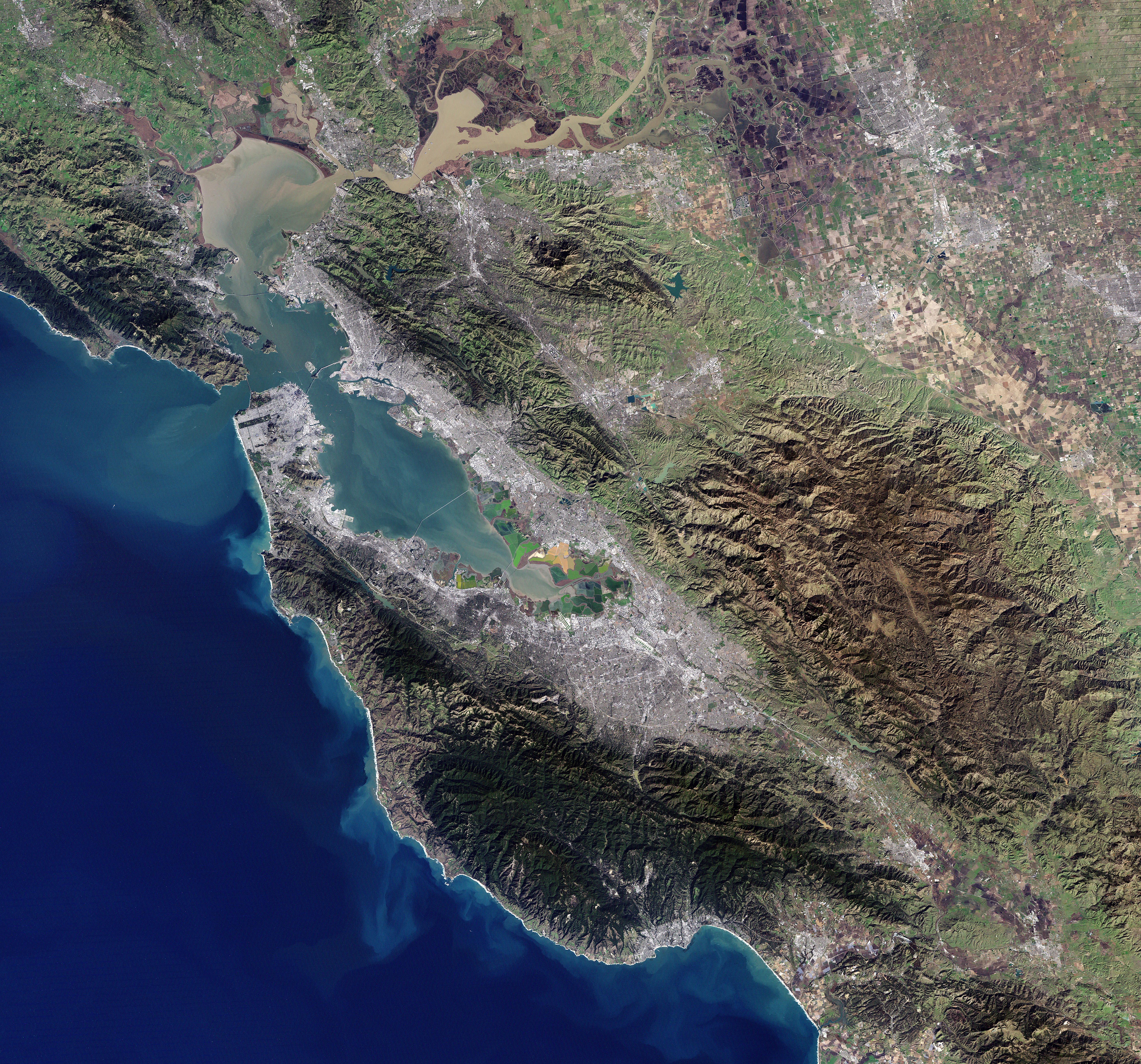 Landsat 7 image of the san francisco bay area