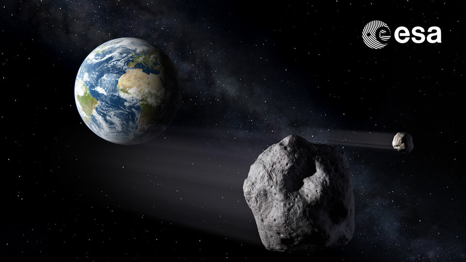 Artist's impression of asteroids passing Earth
