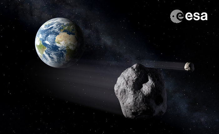 Artist's impression of NEO asteroids passing Earth ESA SSA