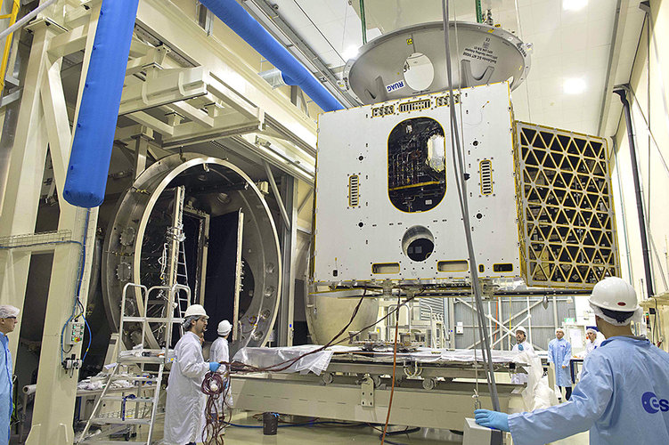 Mercury Planetary Orbiter being placed in Phenix thermal vacuum facility