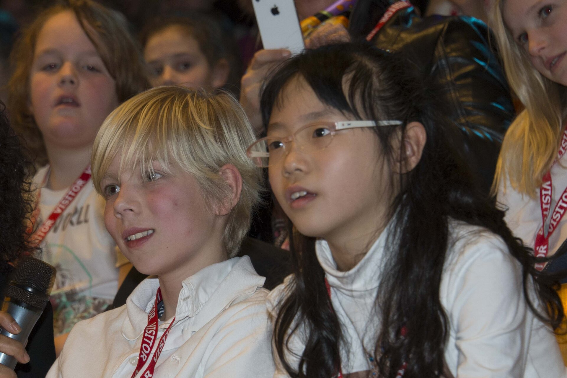 Schoolchildren asking questions at Mission-X 2013 kick-off
