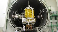 Alphasat inside the Intespace Simmer vacuum chamber.