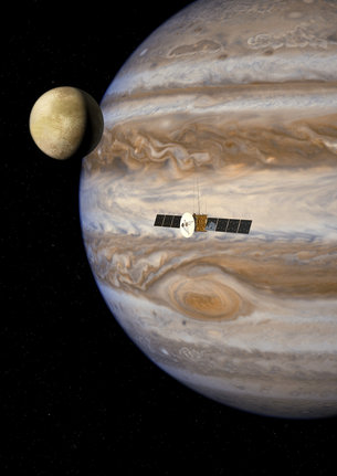 Jupiter och JUICE (Bild: ESA)