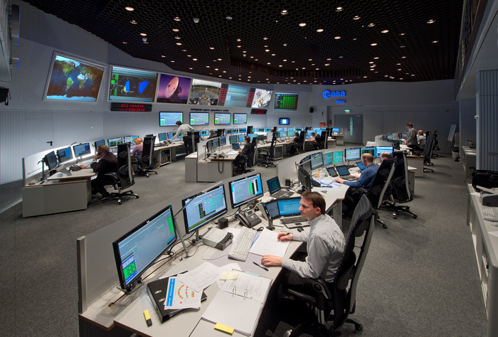 Mission controllers at work in the Main Control Room, ESOC, Germany