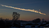 Asteroid trace over Chelyabinsk, Russia, on 15 February 2013