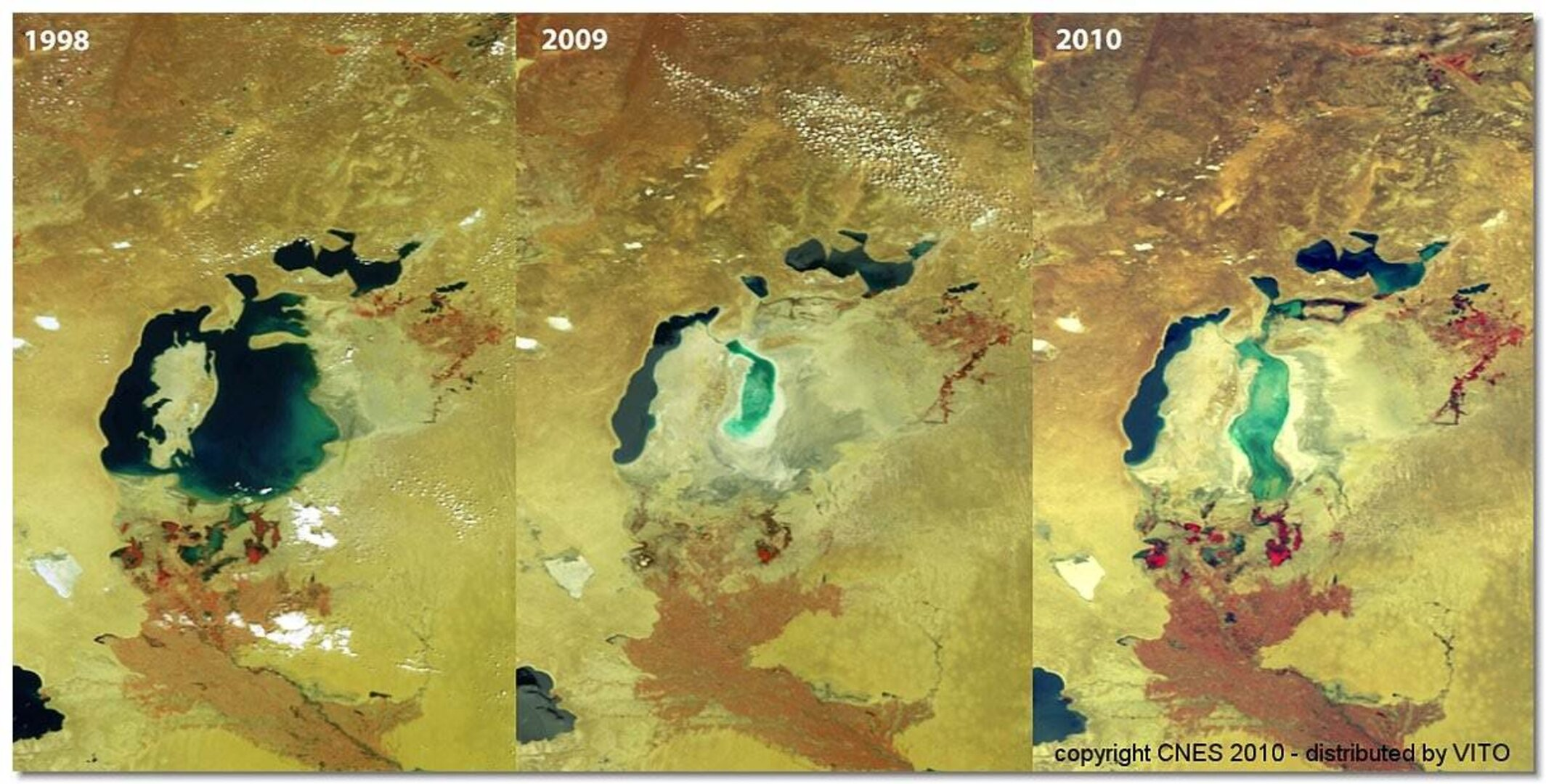 Aral sea monitored by Vegetation