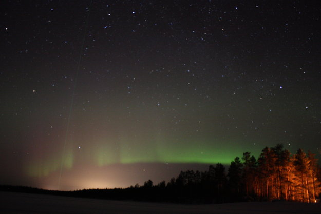 The Northern Lights above Finnish Lapland near Sodankylä during ESA's space weather-themed social space event in 2013