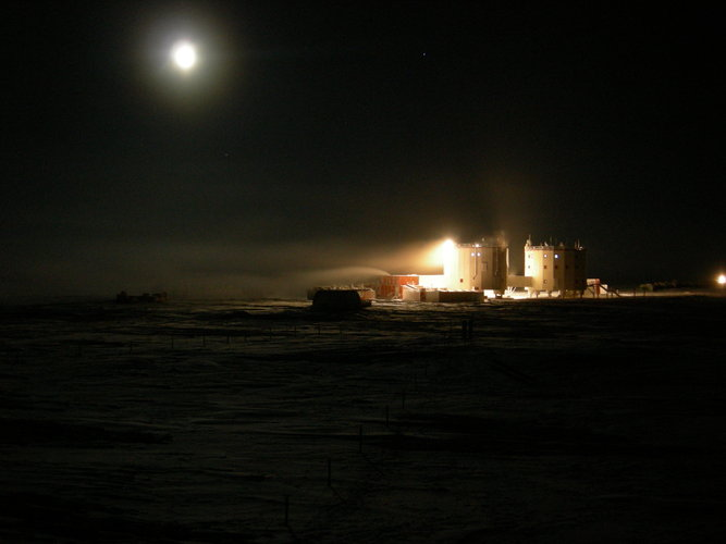 Concordia research station in moonlight