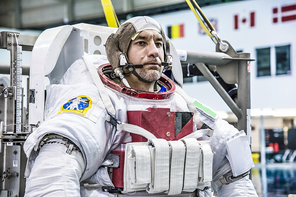 ESA astronaut Luca Parmitano suiting up for EVA training
