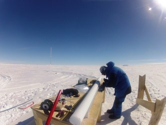 Inspecting ice core