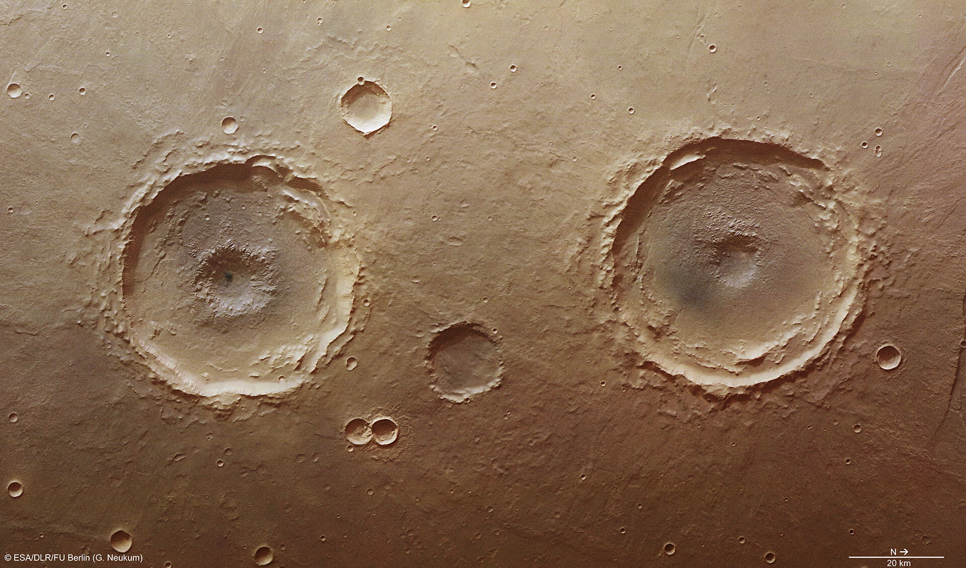 ESA - Explosive crater twins on Mars