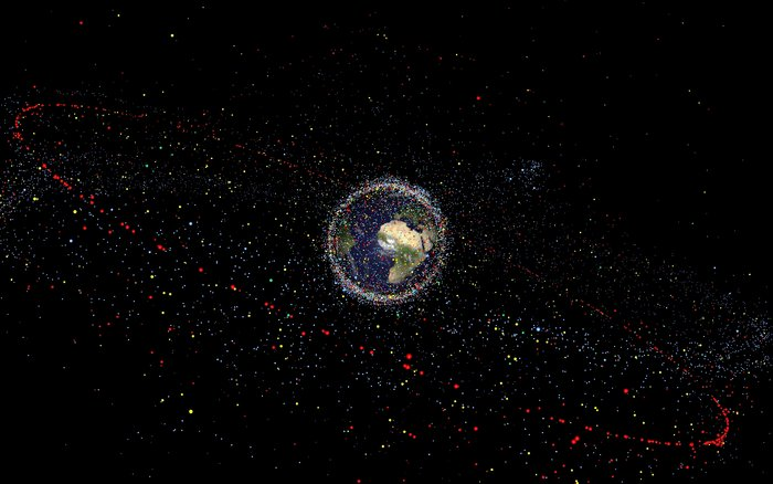 Distribution of debris objects larger than 10 centimetres in space