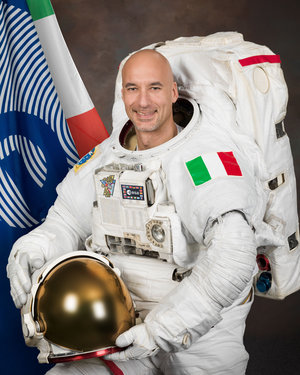 ESA astronaut Luca Parmitano in spacewalk suit