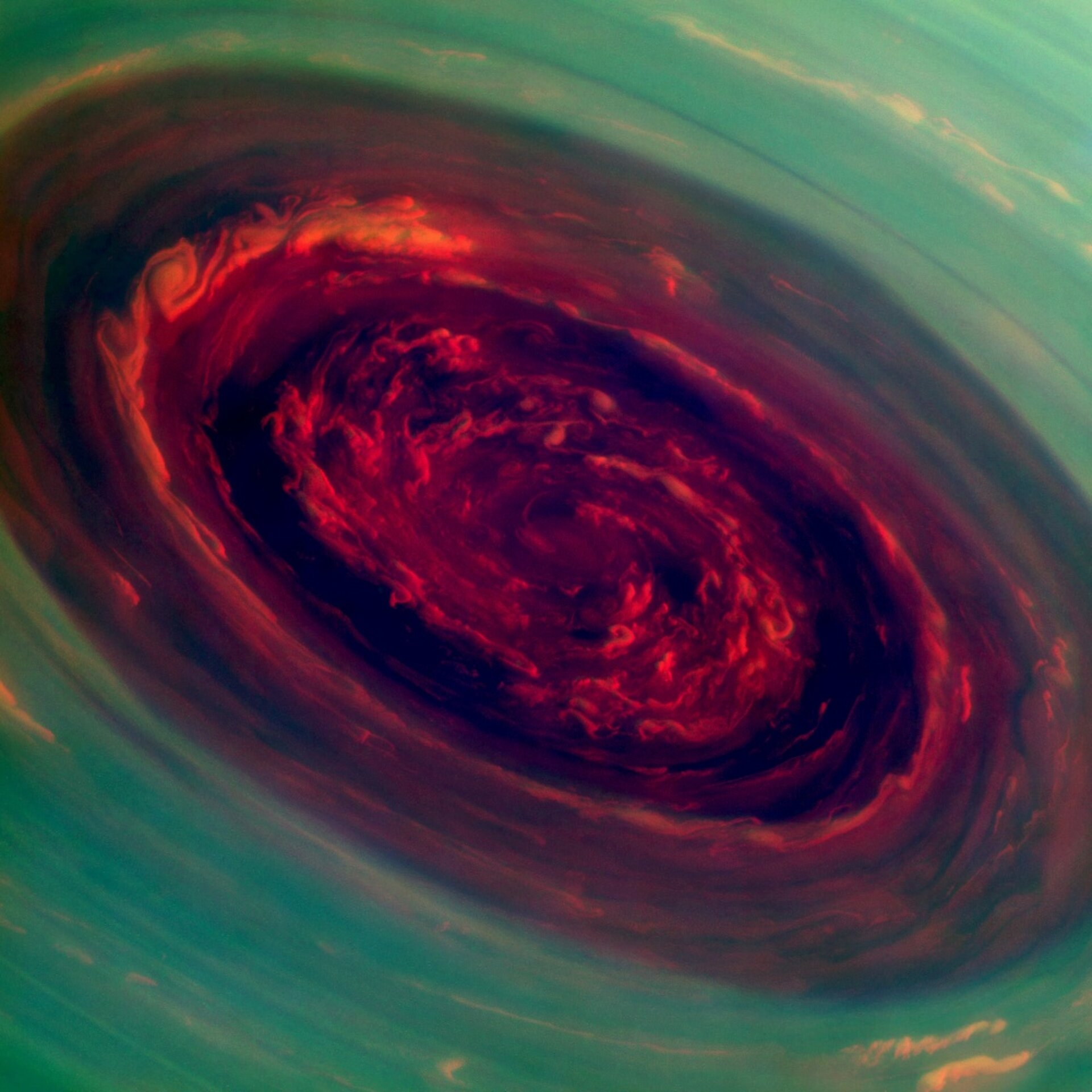 Saturn's north-pole hurricane close up