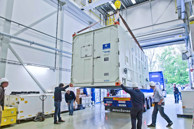 First Galileo FOC satellite arrives at ESTEC for space testing.