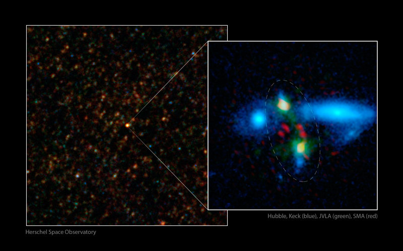 Massive galaxy merger caught in the act