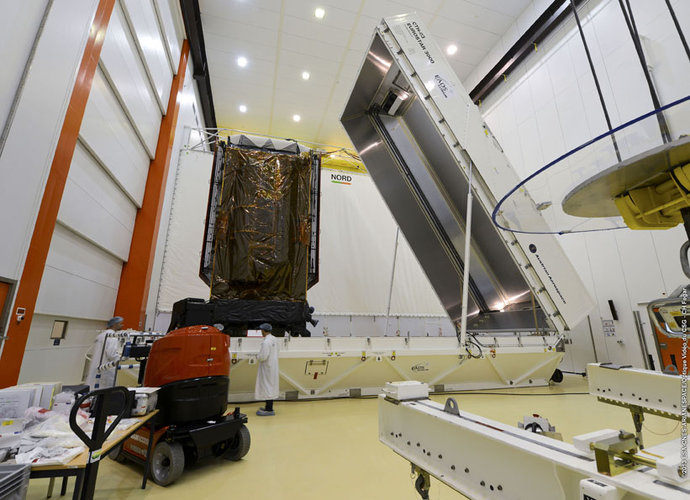 Alphasat being removed from container