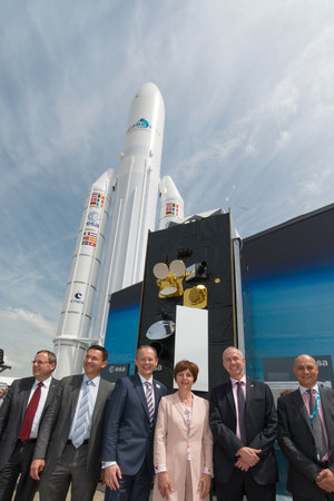 Alphasat partners in front of the ESA pavilion
