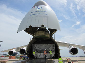 Alphasat in cargo container prepared for shipment at Toulouse airport