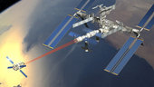 Artist's impression showing ATV docking with ISS