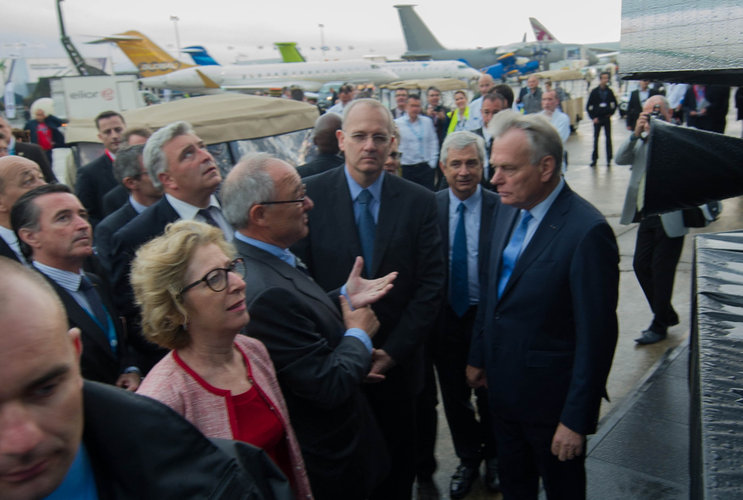 Jean-Jacques Dordain and Jean-Marc Ayrault at the Paris Air and Space Show
