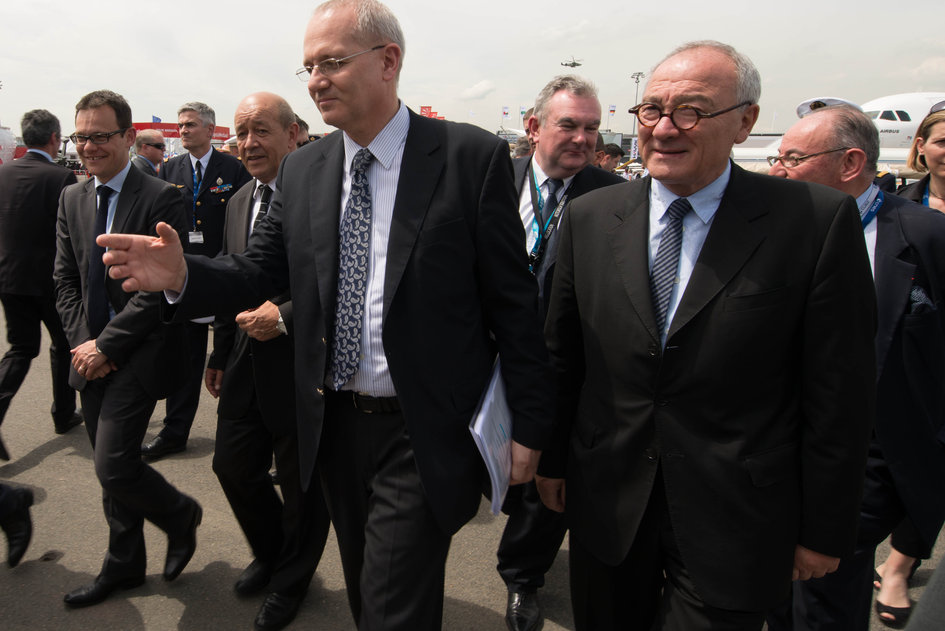 Jean-Yves Le Drian visits the Paris Air and Space Show with Stephane Israël, Jean-Yves Le Gall and Jean-Jacques Dordain