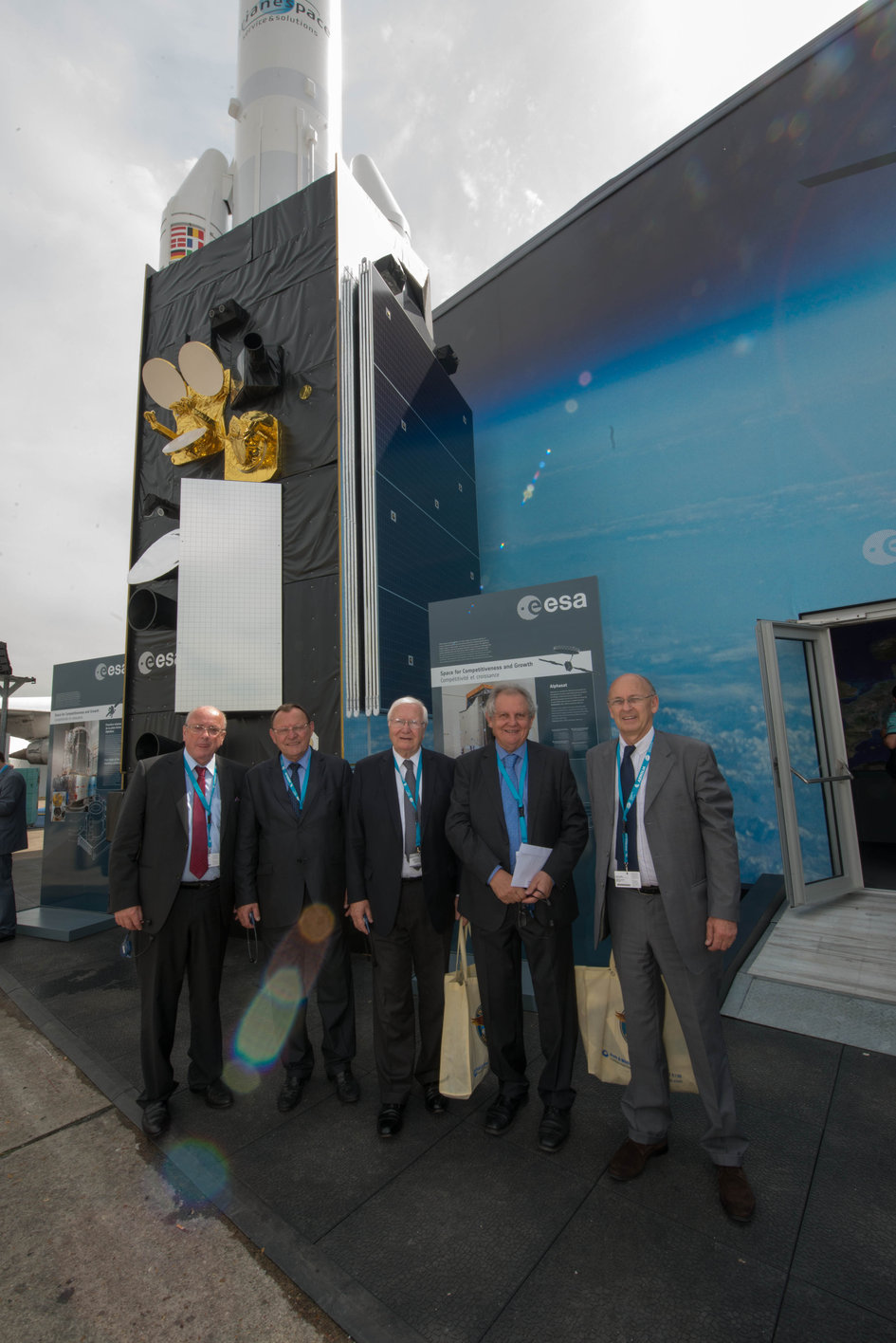 Members of the OPECST of France in front of the ESA Pavilion