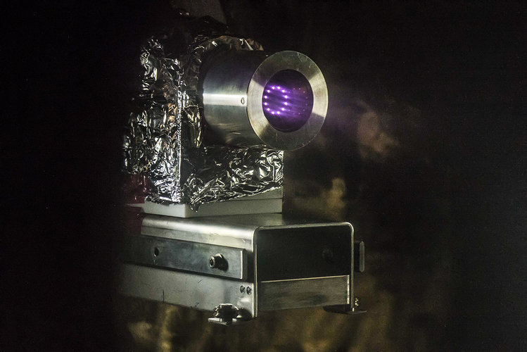 MiniRIT thruster being tested
