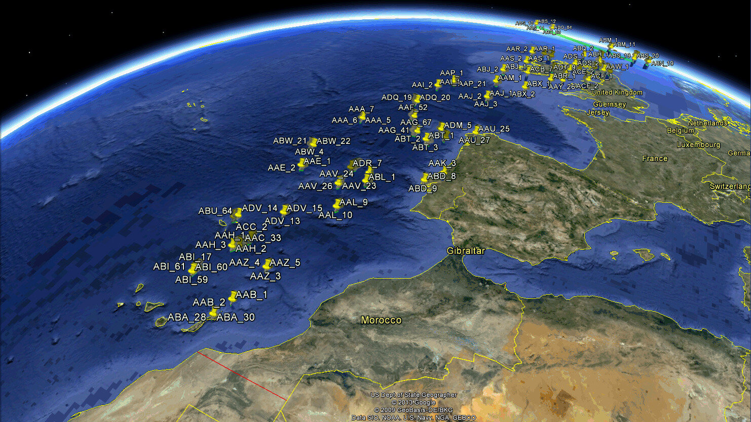 Detecting aircraft in vicinity of Europe