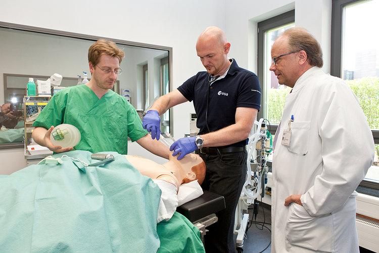 Alexander Gerst practising intubation