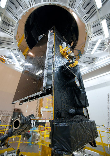 Alphasat encased by rocket fairing