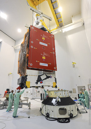 Alphasat lifted onto launch adaptor