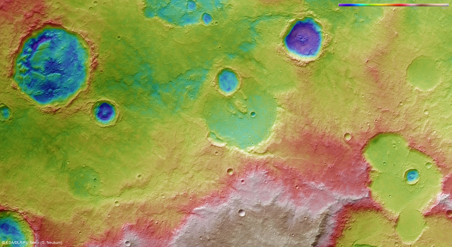 Colour-coded topography of Tagus Valles region
