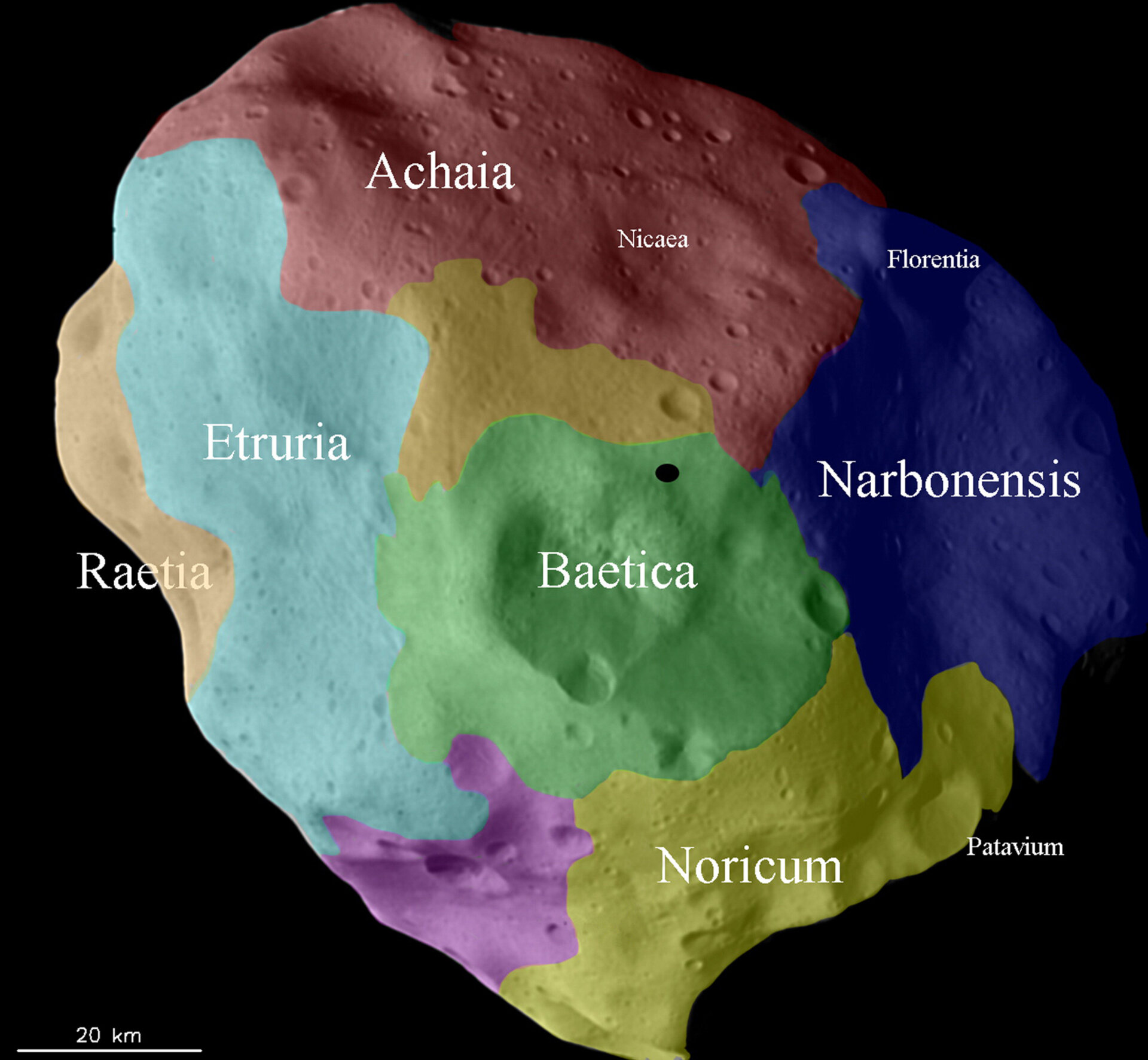 The history of different regions on Lutetia's surface