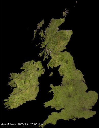 Albedo over UK and Ireland