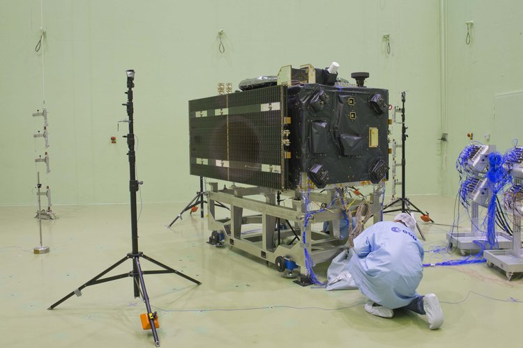 Galileo satellite in LEAF for acoustic testing