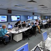 ESA's flight dynamics team works from a specialised control room at ESOC, Darmstadt