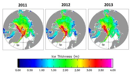 Variations in spring ice thickness