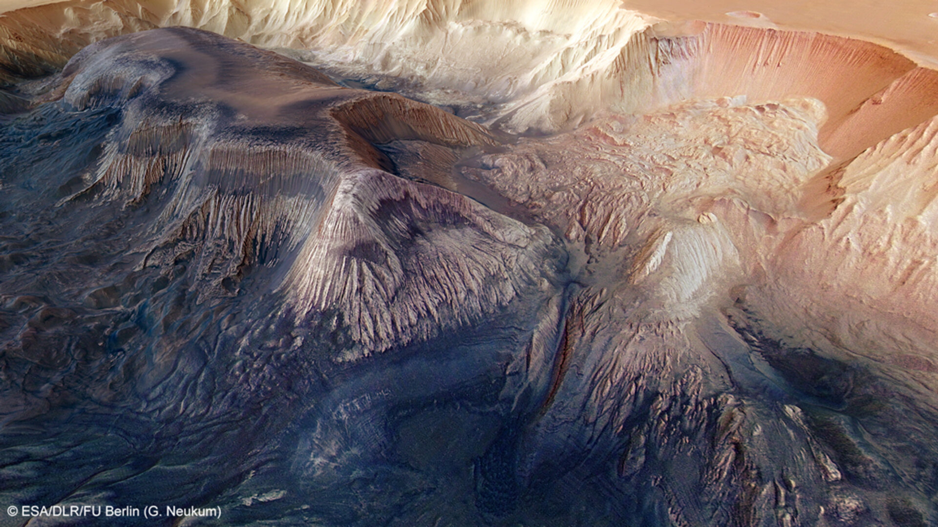 Landslides and rock layers inside Hebes Chasma