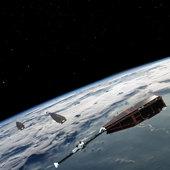 Constelación de satélites Swarm sobrevolando la Tierra