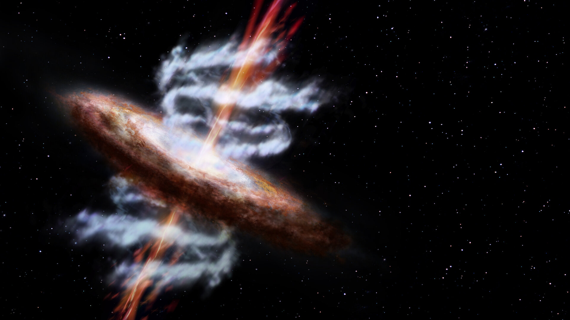 Artist's impression of an active galaxy