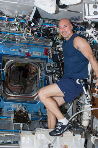 Luca keeping fit in space