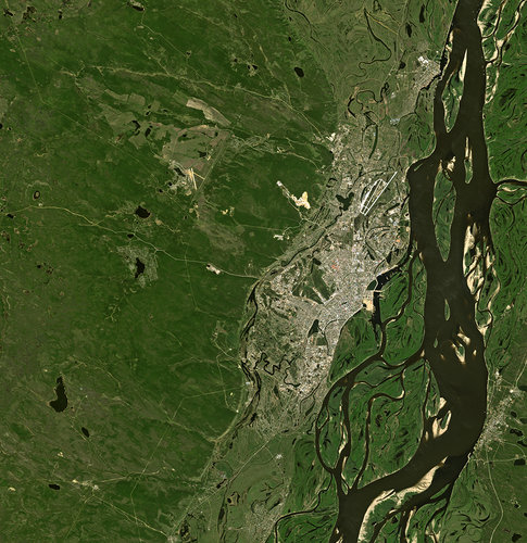 Russia's Lena River and the city of Yakutsk