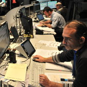 The Swarm mission operations team training in the Main Control Room at ESOC for liftoff, set for November 2013.
